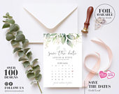 Foliage Wedding Save The Dates, Gold Leaf Wedding Save The Date, Calendar Save Our Date, Botanical Wedding Invitation, Foil Save the Date