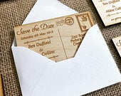 Personalised Rustic Engraved Save the Date Postcard Magnets Abroad Wedding Invitation Pack