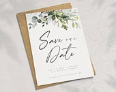 Greenery Save the Date, Save the Date Cards, Simple Save the Date, Save the Date Postcards, Wedding Announcement 021