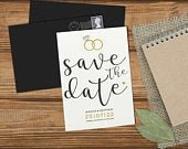 Save The Dates Modern, Save The Date Wedding, Save The Date Cards With Envelope, Rings, Gold, Simple, Elegant, Envelopes, Personalised