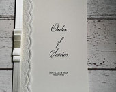 Order of service,lace,ivory ribbon, dior bow, elegant, plain and simple, church booklet,wedding invites.
