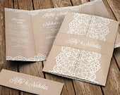 Rustic Lace Wedding Invitation Set With Envelopes Bellyband Gatefold Wedding Invitations Wedding Invites Any Colour