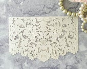 Parisienne Laser Cut Panel in Pearlised Ivory Decorative lace card panel DIY wedding invitations and decoupage