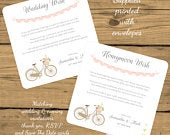 PRINTED Personalised Honeymoon or Wedding CardsVintage Shabby Chic Bike Bicycle Pink Lace BuntingRequest Money for a Wedding Gift