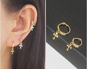 Simple cross hoop earring, fake piercing jewelry, no need for a hole, or real jewelry on an 8mm or 6mm hoop. Suitable for cartilage piercing