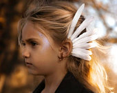 Children Feather Ear Cuff / Copper Ear Wing. White Earcuff Hessian. Child. Festival / Boho / Tribal Headress. Wedding / Bridal / Earrings
