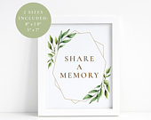 Greenery Share a memory sign, Printable share a memory sign, Share a memory card, Instant download, PDF template, Memorial card, Memory sign