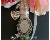 Beautiful Wedding Bouquet Photo Charm Silver Photo Frame Bridal Bouquet Locket and Heart Charm with a clear cover Gift Bag