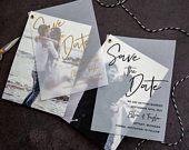 Photo Save the Date, Vellum Overlay, Change the Date, Unique Wedding Stationery