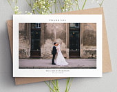 Wedding Thank You Card With Photo, Thank You Wedding Cards, Thank You Card Wedding, Personalised Thank You Cards, Thank You Photo Card 087