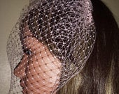 Pink birdcage 9 wedding veil. Fascinator Gothic veil. Attached to metal comb. Ladies race day veil FREE UK POSTAGE