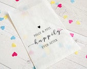 10 x Happily Ever After personalised confetti bags for wedding, party, favours FREE Postage