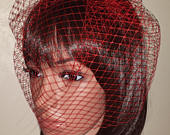 Red birdcage wedding veil 9 Veil is attached to metal comb. Fascinator Face veil Christmas ball. FREE UK POSTAGE