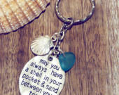 Sea Glass Keyring May You Always Have A Shell In Your Pocket Sand Between Your Toes Beach Lovers Gift Beach Wedding Favour Ocean