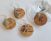 Shell, Seahorse, Starfish, or Turtle Wine Glass Charms Handmade Personalised Seaside Beach themed Cork Charms for Summer occasions