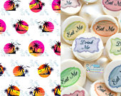 Edible Sunset Sunrise Paradise Transfer Sheets Sugar Art Stamps Tropical Summer Beach Palm Tree Island Meringue Kisses Chocolate Lollipop