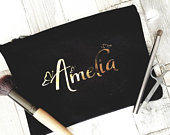 Personalised Make Up Bag, Cosmetic Purse, Foil Vinyl Make up Bag, Personalised Gift, Bridesmaid Gift, Tote Bag, 100% Cotton