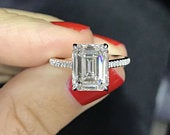 3 CT/9 7mm Emerald Cut Forever One Engagement Ring White 14k/18k/Platinum, Moissanite Emerald Engagement Ring, Emerald Cut Solitaire Ring.