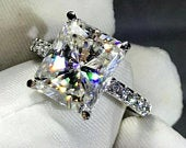 Radiant Cut Moissanite Engagement Ring, 4 ct Forever One Moissanite Ring, Pave Diamond Ring ,Modern Engagement Ring.