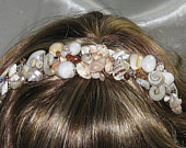 Handmade Sea Shell Beach Wedding Tiara Golden Sunset