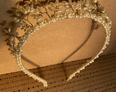 Beautiful Vintage 1930s Inspired Gold and Ivory Rice Pearl Style Wedding Crown Tiara Headband Wreath Diadem
