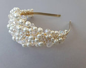Bridal pearl headband, pearl tiara, wedding headpiece, hairpiece, gold tiara, silver tiara, pearl hairband, pearl headpiece