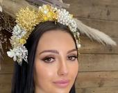 Pearl gold and silver leaf and flower bridal tiara