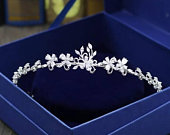 Silver Wedding Tiara with Stunning FlowersAccessories for BridesBridal Hair JewellerySilver CrownTiaras For BridesSilver floral Crown