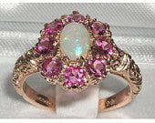 9K English Rose Gold Natural Opal Pink Tourmaline Cluster Flower Engagement Ring Made in England Customize:9K,14K,18K, Gold