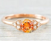 Peach sapphire salmon padparadscha and diamond rose/white/yellow gold engagement ring art deco 1920s inspired thin petite band unique