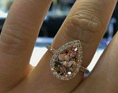 Rose gold stunning 4.5Ct Pear Cut Peach lab created Morganite Diamond Halo Engagement Ring 14ct Rose Gold
