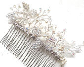 Bridal hair accessories, hairpiece, wedding comb, bridal comb, handmade freshwater pearl swarovski crystal