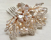 Bridal hair accessories, hairpiece, wedding comb, rose gold bridal comb, handmade freshwater pearl Swarovski Crystal