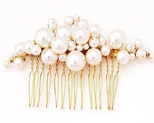 Bridal Gold Pearl Hair Comb, Wedding Hair Comb, Bridal Hair Comb, Wedding Back Comb, Veil Decoration, Beautiful classy Hair comb.