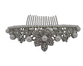 Silver Plated Crystal and Pearl Shaped Wedding Hair Comb Bridal Hair Comb Headpiece Hair Accessory Bridal Jewelry Barn Wedding Whimsical