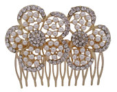 18ct Gold Plated Crystal and Pearl Flower Wedding Hair Comb Bridal Hair Comb Headpiece Hair Accessory Whimsical Rustic Wedding Outdoor Barn