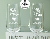 Bride and Groom Champagne Flutes, Set of 2 Personalised Champagne Glasses, Choice Of 6 Designs, Wedding Gift, Engagement Gift For Couple
