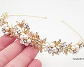 Gold Pearl Wedding Hairband, Crystal and Pearl Embellished Hairband for Wedding, Gold Bridal Headband, Wedding Day Hairband