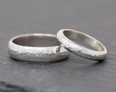 Sterling Silver Wedding Ring SetTextured Sterling Silver Wedding Band SetHis and Her Wedding Ring SetSterling Silver Wedding Band Set