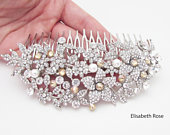 Champagne Crystal Floral Design Wedding Hair Comb, Large Hair Comb for Bride, Sparkly Bridal Hair Piece, Wedding Day Flower Hair Comb