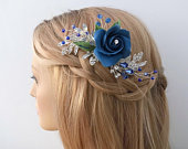 Bridal Hair comb, Blue rose flowers for weddings, Something blue, Crystal hair accessories, Hair jewelry, Silver rhinestone leaves, Bride