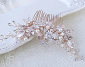 Cubic zirconia Rose gold bridal comb, Gold leaf enhanced with rhinestones, Wedding statement, Crystal hairpiece, Bridal hair comb.
