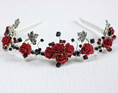 Goth tiara with red and black Swarovski crystals, roses and silver leaves. Ideal Alternative bride