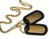 Solid Cartridge Brass US Army Dog ID Tag Set, Personalised Embossed with Chains and Silencers. Available in a Single or Double Set