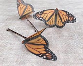 Silk butterfly hair pin, Monarch butterfly with Swarovski Crystal.