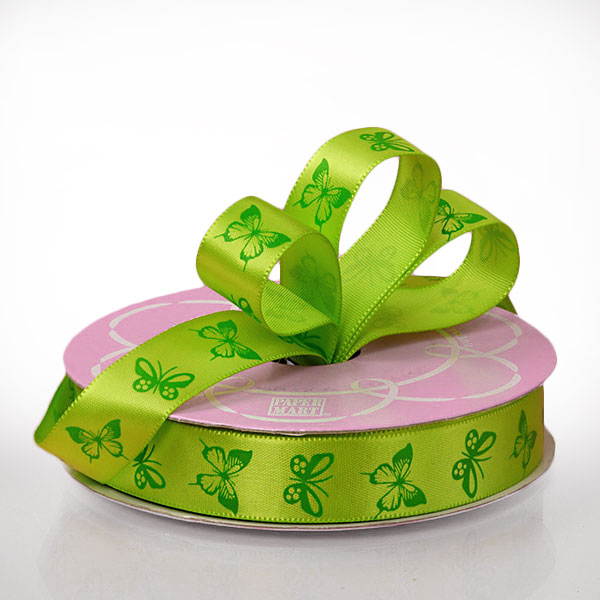 """5/8"""" X 25 Yards Polyester Green/Forest Butterfly Satin Ribbon by Ribbons.com"""