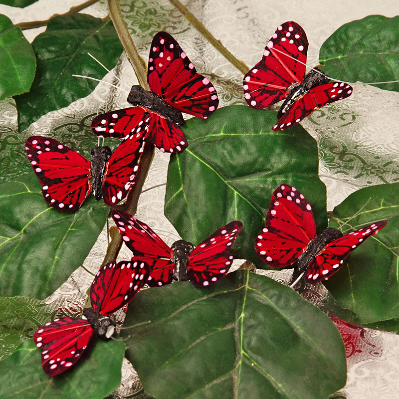 """Feathers 12ea - 1 3/4"""" Burgundy Feather Monarch Butterfly by Ribbons.com"""