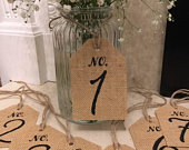 Mason jar Wedding and party table numbers 1 to 9 Mason jar hanging tied burlap hessian french style font