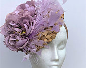 Lilac Kentucky Derby fascinator, lilac Feather Flower Straw Ascot Derby Fascinator hat, Lilac Straw Hat, lilac Straw Wedding Fascinator Hat