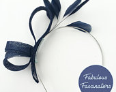 Navy blue small fascinator with feathers. Wedding fascinator, hat for races